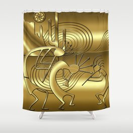 Magical Kokopelli in Gold Shower Curtain
