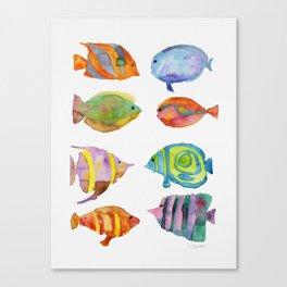 Watercolor Colorful Tropical Fish Canvas Print