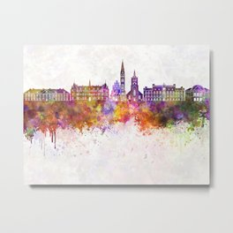 Odense skyline in watercolor background Metal Print