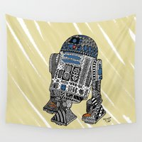 r2d2 Wall Tapestries featuring R2D2 by Rebecca Bear