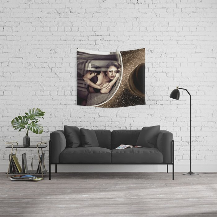Sad walk in Space Wall Tapestry