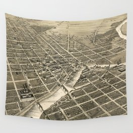 Vintage Pictorial Map of South Bend IN (1890) Wall Tapestry