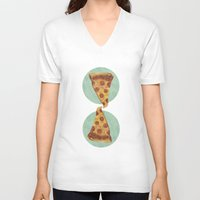 pizza V-neck T-shirts featuring pizza by Sara Morán