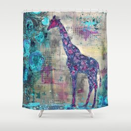Majestic Series: Giraffe having a berry Shower Curtain