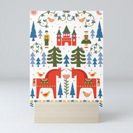 Scandinavian Fairtytale - Green + Red Mini Art Print