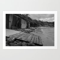 Sandon Point Boat Sheds NSW Art Print