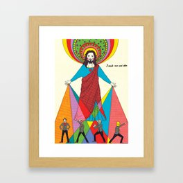 Jesus create man and alien Framed Art Print