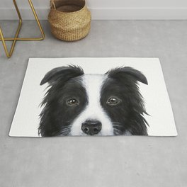 border collie Original painting print by miart Rug