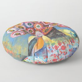 Bluebird with Bouquet by Robynne Floor Pillow