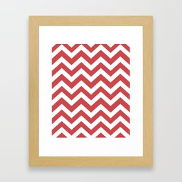 English vermillion - pink color -  Zigzag Chevron Pattern Framed Art Print