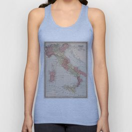 Vintage Map of Italy (1883) Unisex Tank Top