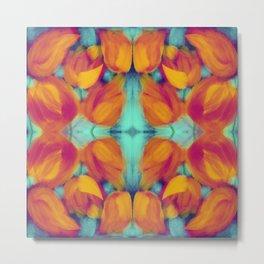 Kaleidoscope fuchsia and yellow tulips on aqua background Metal Print