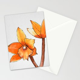 Orange Cattleya Orchids Stationery Cards