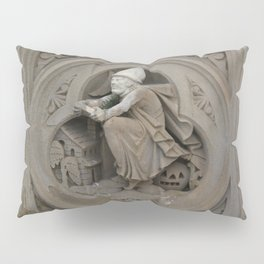 Halloween Witch on Broom 3d Stone Carving Photo Pillow Sham