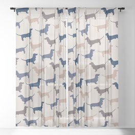 Elegant Dachshunds Pattern Sheer Curtain