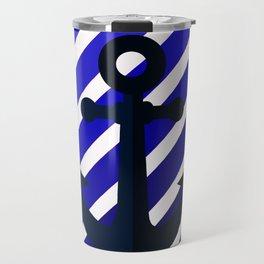Anchor on blue lines Travel Mug