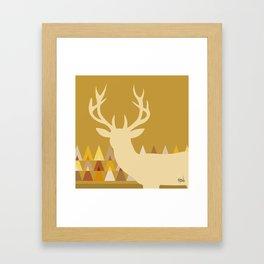 Deer Head Geometric Triangles | mustard yellow taupe Framed Art Print