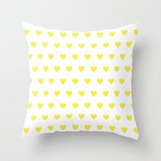 Yellow polka dot hearts Throw Pillow