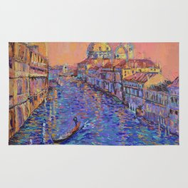 Sunset Over The Grand Canal In Venice -palette knife urban city landscape by Adriana Dziuba Rug