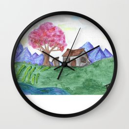 Chinese Cottage in Spring Wall Clock