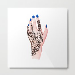 Modern watercolor hand  floral henna tattoo blue nails Metal Print