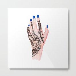 Modern watercolor hand  floral henna tattoo blue nails Metal Print