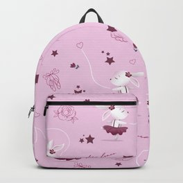 Magic moments with cute bunnies light pink Backpack