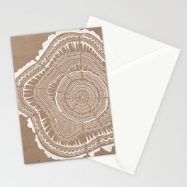 Tree Rings – White Ink on Kraft Stationery Cards