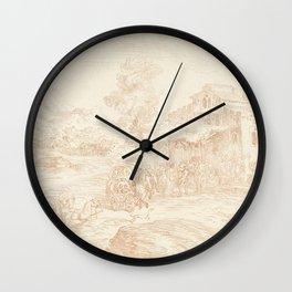 Antoine Watteau - Landschap met vele figuren bij een herberg Wall Clock