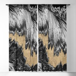 Abstract black white gold waves brushstrokes pattern Blackout Curtain