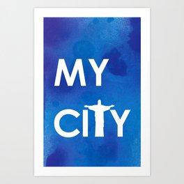 MyCity-Rio-BlueA Art Print