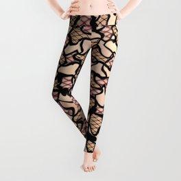 Fishnet and Skin Tone Wobbly Mosaic Tiles Pattern Leggings