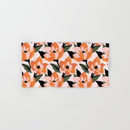 Bold orange poppy on a soft pink base Hand & Bath Towel