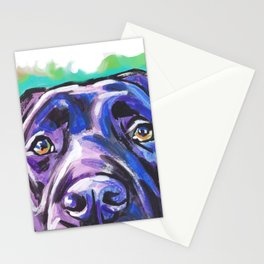 black Labrador Retriever Dog Pop Art by Lea Stationery Cards