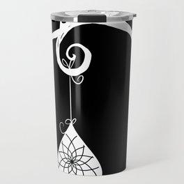 Burtonesque Branch with Ornament 2 / White on Black Travel Mug