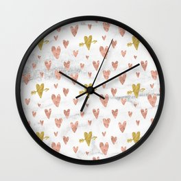 Rose Gold Marble Hearts Design Pattern Wall Clock
