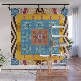 Psyche Boho Bold Golden Blue Quilt Mandala Wall Mural