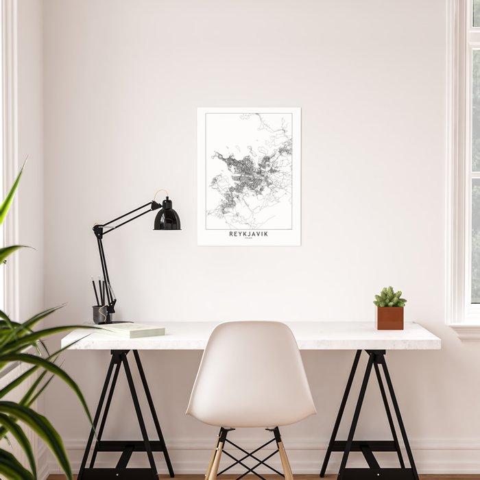 Reykjavik White Map Poster