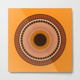 Tiger Eye Mandala Metal Print