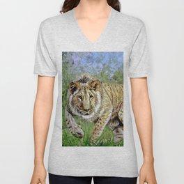 Lion oil painting Unisex V-Neck