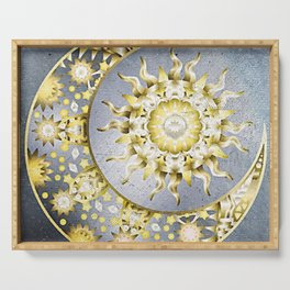 Golden Moon and Sun Serving Tray