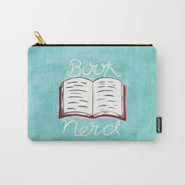Book Nerd - Watercolour Illustration of a Book With Calligraphy Lettering Quote Carry-All Pouch