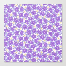 Hibiscus and Plumeria Lavender and Yellow Canvas Print