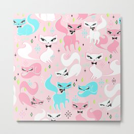 Swanky Kittens on Pink Metal Print