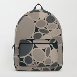OMEGA circular abstract of neutral beige and gray on black Backpack
