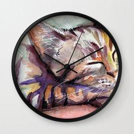 Cute Sleeping Kitten Watercolor Wall Clock