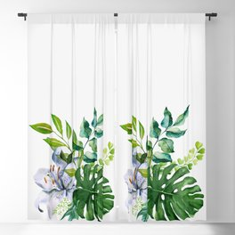 Flower and Leaves Blackout Curtain