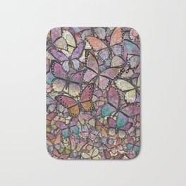 butterflies aflutter rosy pastels version Bath Mat