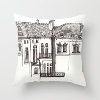 brussels Throw Pillows featuring Brussels by MadmFia