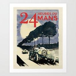 24 Heures du Mans, Hand Painted, vintage Poster Art Print